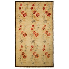 Contemporary Sparta Rug Beige Red Floral Pattern