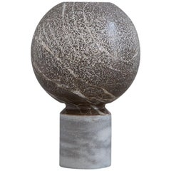 Contemporary Spheric Vase in Grey Marble and Dolomite