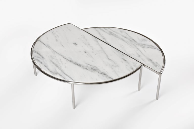Brazilian Contemporary Split Center Table by RAIN in Stainless Steel and White Marble For Sale