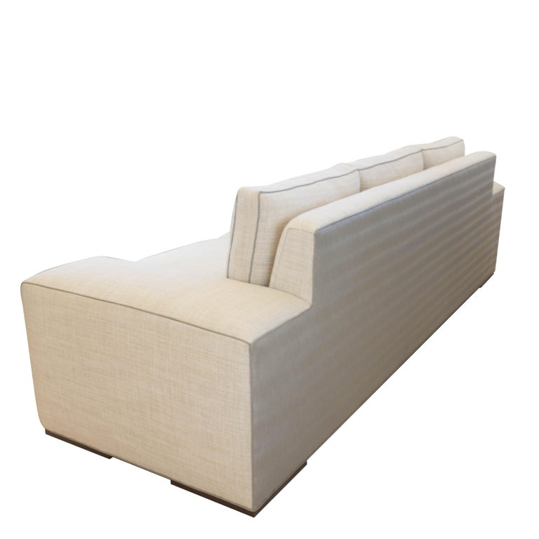 Contemporary Square Arm Sofa with Loose Cushions For Sale 4