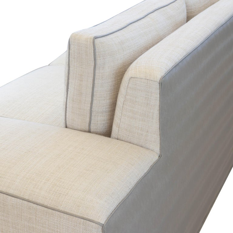 Contemporary Square Arm Sofa with Loose Cushions For Sale 5