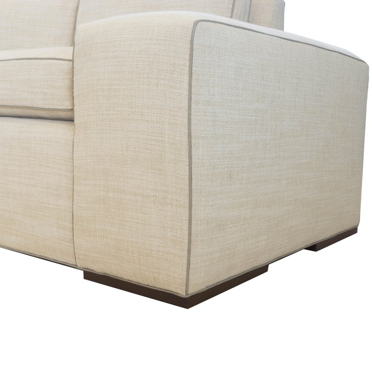 Contemporary Square Arm Sofa with Loose Cushions For Sale 11