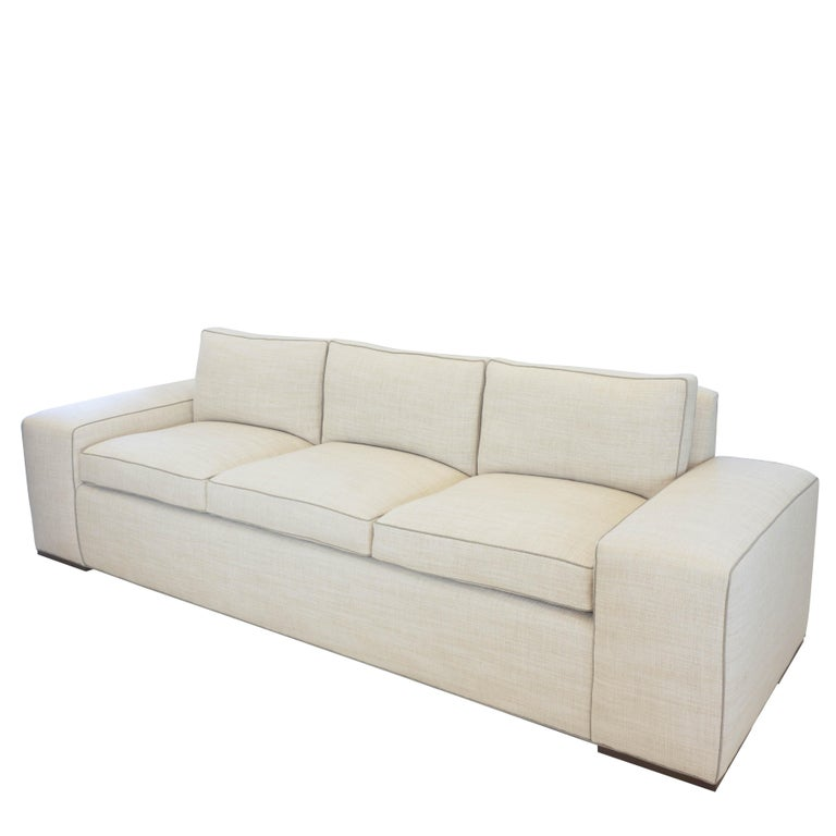 American Contemporary Square Arm Sofa with Loose Cushions For Sale