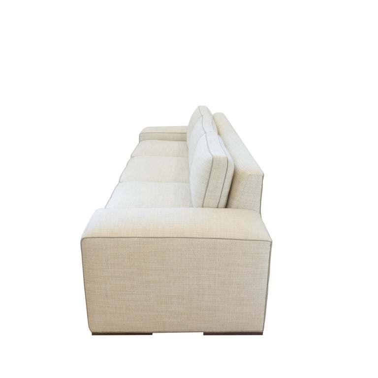 Fabric Contemporary Square Arm Sofa with Loose Cushions For Sale