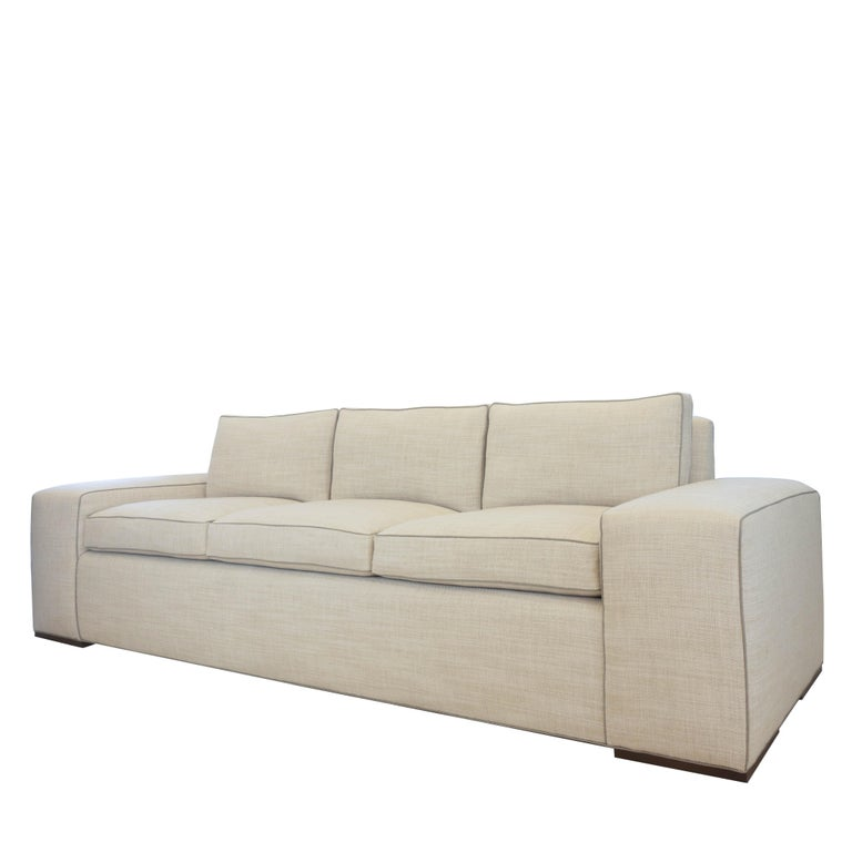 Contemporary Square Arm Sofa with Loose Cushions For Sale 1