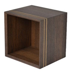 Contemporary Square Bookcase or Nightstand in Stained Oak with Brass Decor
