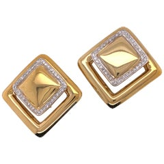 Contemporary Square Diamond Yellow Gold Earrings Clip Backs