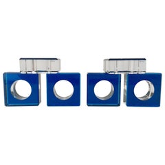 "Contemporary Square and Round Lucite Napkin Rings S/6 by, ""AFV"""