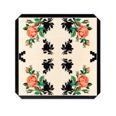 Zeitgenössischer Quadratischer Tisch mit Rosen für 4 Personen