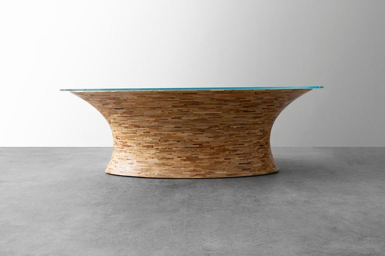 American STACKED Oval Spalted Maple Coffee Table by Richard Haining, Available Now For Sale