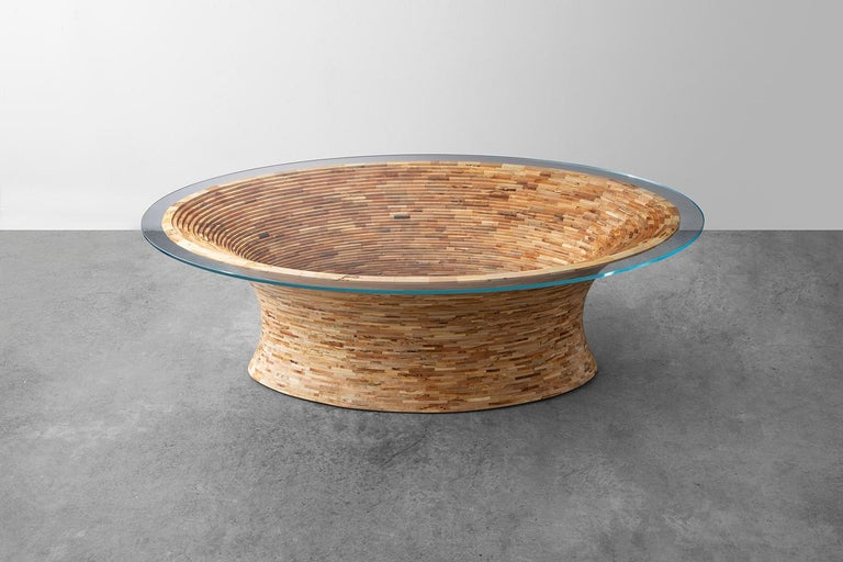 Joinery STACKED Oval Spalted Maple Coffee Table by Richard Haining, Available Now For Sale