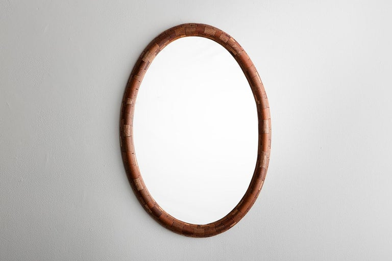 American Contemporary STACKED Walnut Oval Wall Mirror by Richard Haining, Available Now For Sale