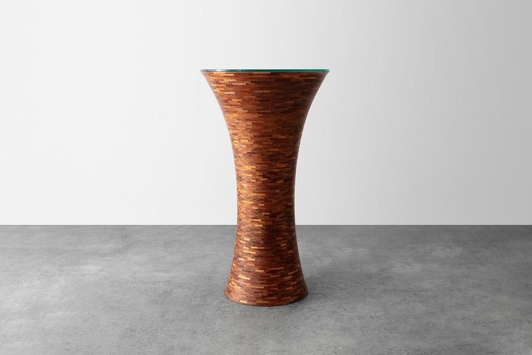Modern STACKED Pedestal Table by Richard Haining, Custom, shown in salvaged Mahogany For Sale