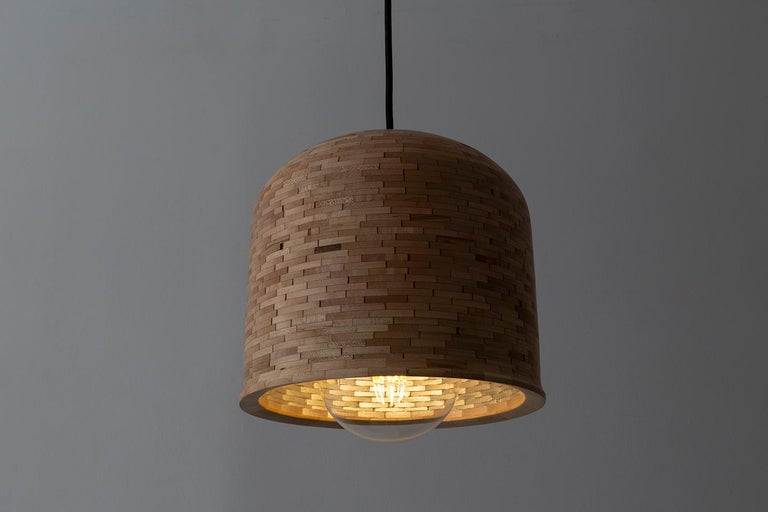 American Contemporary Stacked Squat Bell Pendant Light by Richard Haining For Sale
