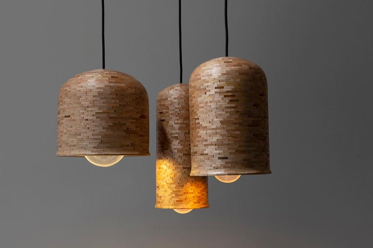 Contemporary Stacked Squat Bell Pendant Light by Richard Haining In New Condition For Sale In Brooklyn, NY