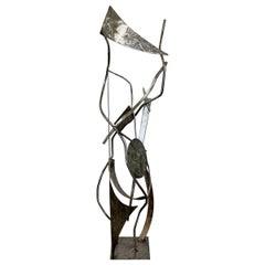 Contemporary Stainless Steel Abstract Floor Sculpture Signed Robert Hansen 2000s