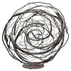 Contemporary Stainless Steel Abstract Table Sculpture Signed Robert Hansen, 2020