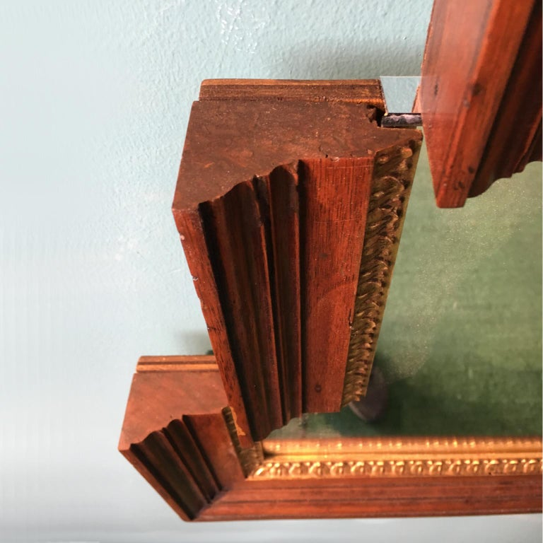 Italian Contemporary Stair-Like Wall Mirror from an Antique Empire Walnut Frame For Sale