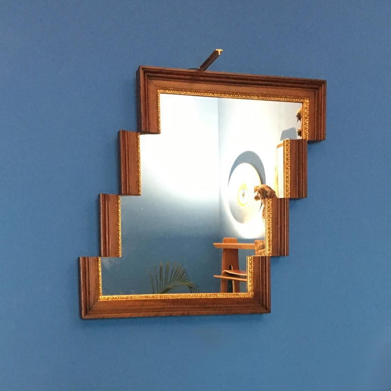 Contemporary Stair-Like Wall Mirror from an Antique Empire Walnut Frame In Excellent Condition For Sale In Milan, IT