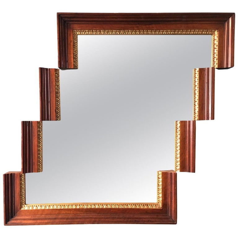 Contemporary Stair-Like Wall Mirror from an Antique Empire Walnut Frame For Sale