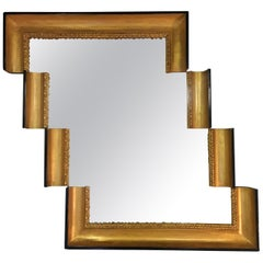 One of a Kind Stair-Like Wall Mirror from an Antique Giltwood Frame