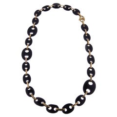 Contemporary Statement Onyx and 18k Yellow Gold Chain Necklace