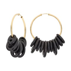 Contemporary Statement Onyx and 18k Yellow Gold Hoops Earrings