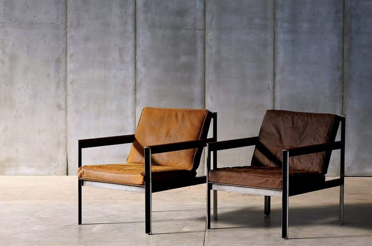 Belgian Contemporary Steel Armchair in Brutalist Style For Sale
