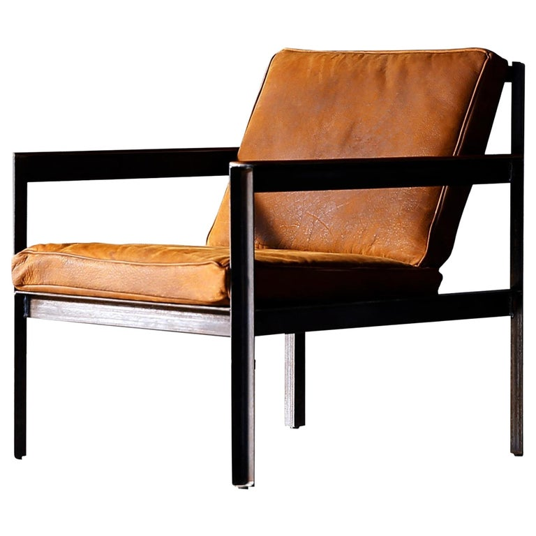Contemporary Steel Armchair in Brutalist Style For Sale