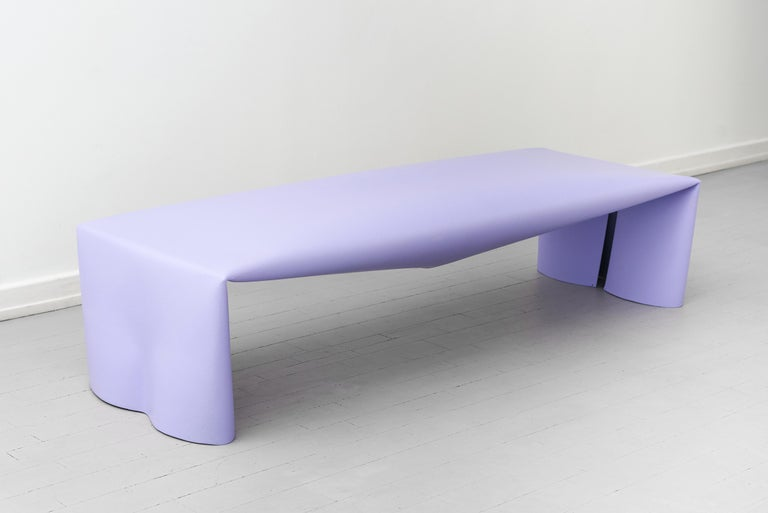 British Contemporary Steel Bench by Soft Baroque, in Lavender For Sale