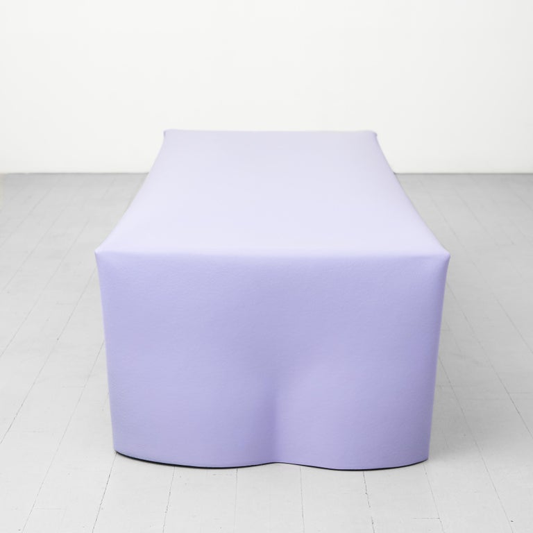 Contemporary Steel Bench by Soft Baroque, in Lavender For Sale 2