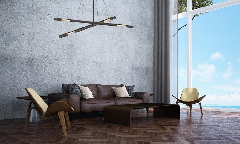 American Contemporary Steel Modern Chandelier in Black with Brass Details, Kros Stilk For Sale