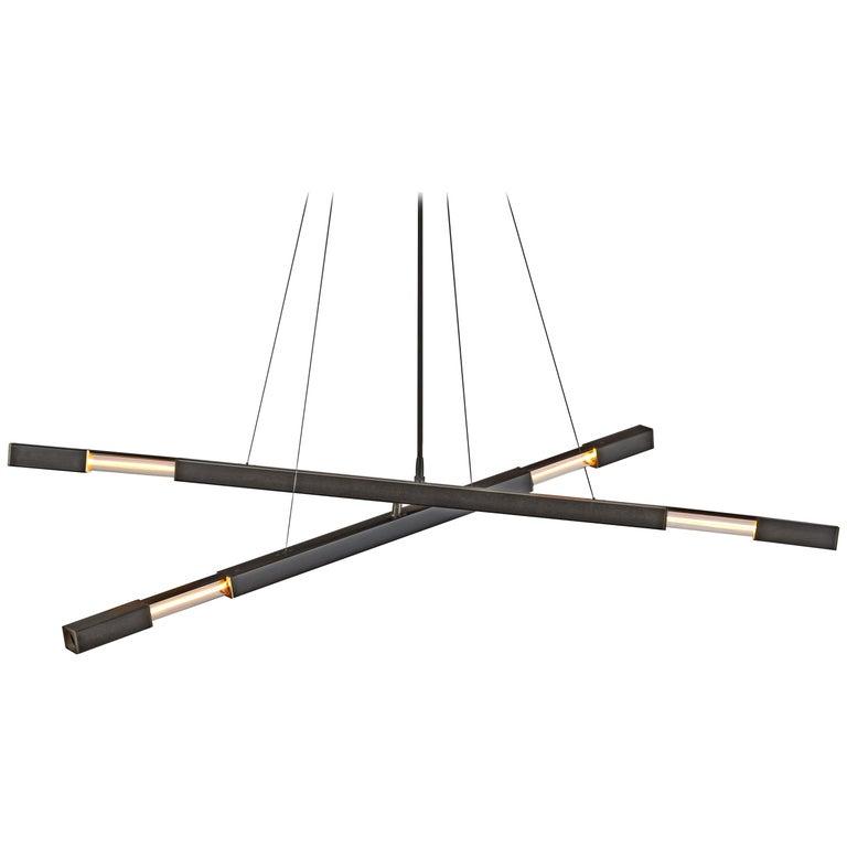 Contemporary Steel Modern Chandelier in Black with Brass Details, Kros Stilk For Sale