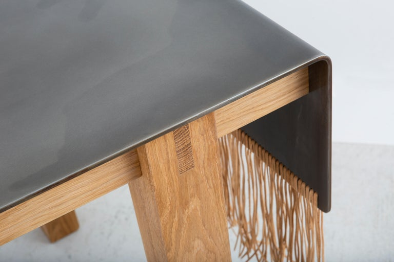 American Contemporary Steel, Oak and Suede Native Table by Vivian Carbonell For Sale