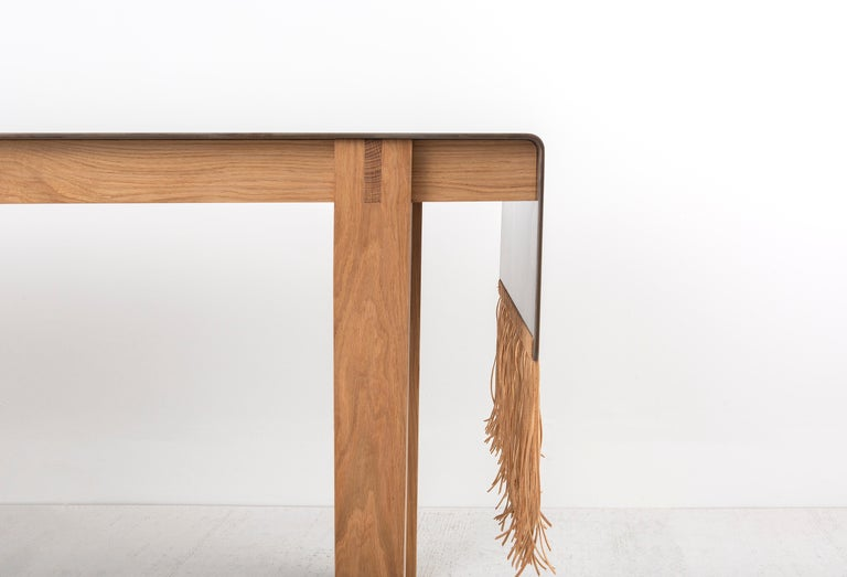 Contemporary Steel, Oak and Suede Native Table by Vivian Carbonell In New Condition For Sale In Miami, FL