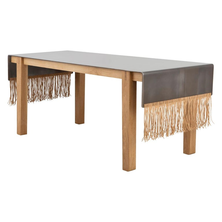 Contemporary Steel, Oak and Suede Native Table by Vivian Carbonell For Sale