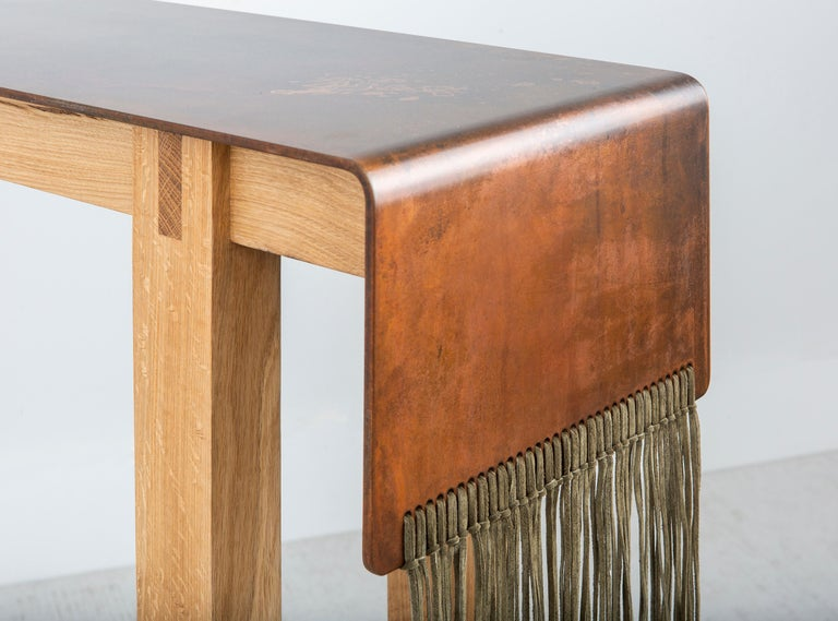 American Contemporary Steel, Suede and Oak Native Console Table by Vivian Carbonell For Sale