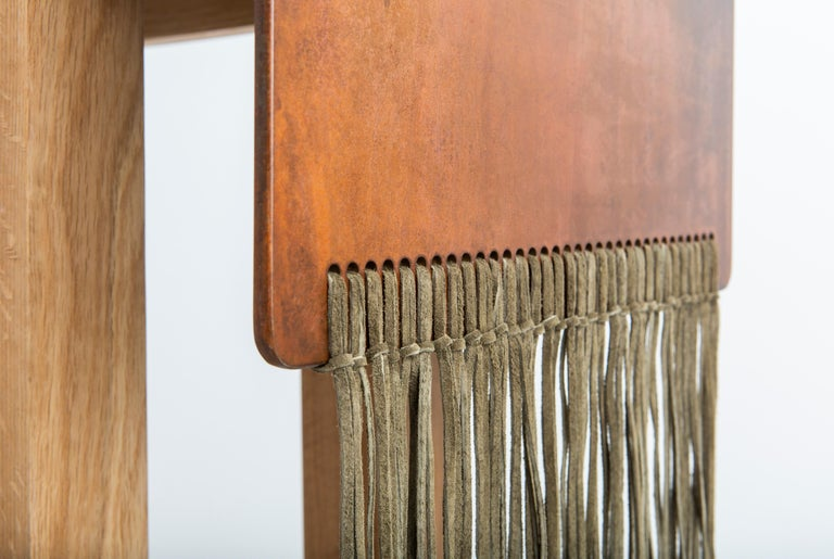 Patinated Contemporary Steel, Suede and Oak Native Console Table by Vivian Carbonell For Sale