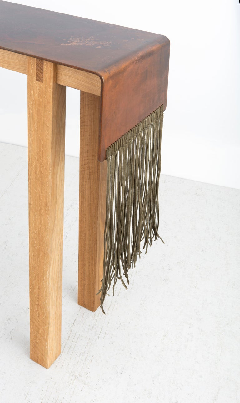 Contemporary Steel, Suede and Oak Native Console Table by Vivian Carbonell In New Condition For Sale In Miami, FL