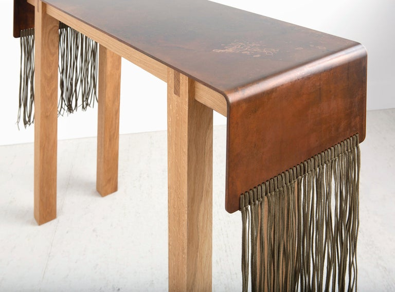 Contemporary Steel, Suede and Oak Native Console Table by Vivian Carbonell For Sale 1