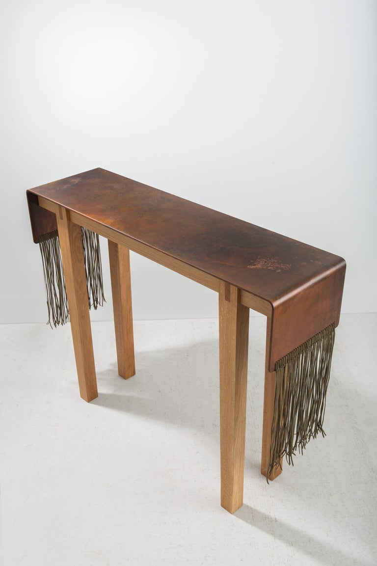 Contemporary Steel, Suede and Oak Native Console Table by Vivian Carbonell For Sale 2