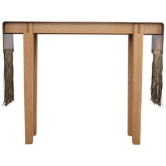 Contemporary Steel, Suede and Oak Native Console Table by Vivian Carbonell