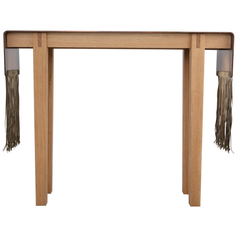 Contemporary Steel, Suede and Oak Native Console Table by Vivian Carbonell For Sale
