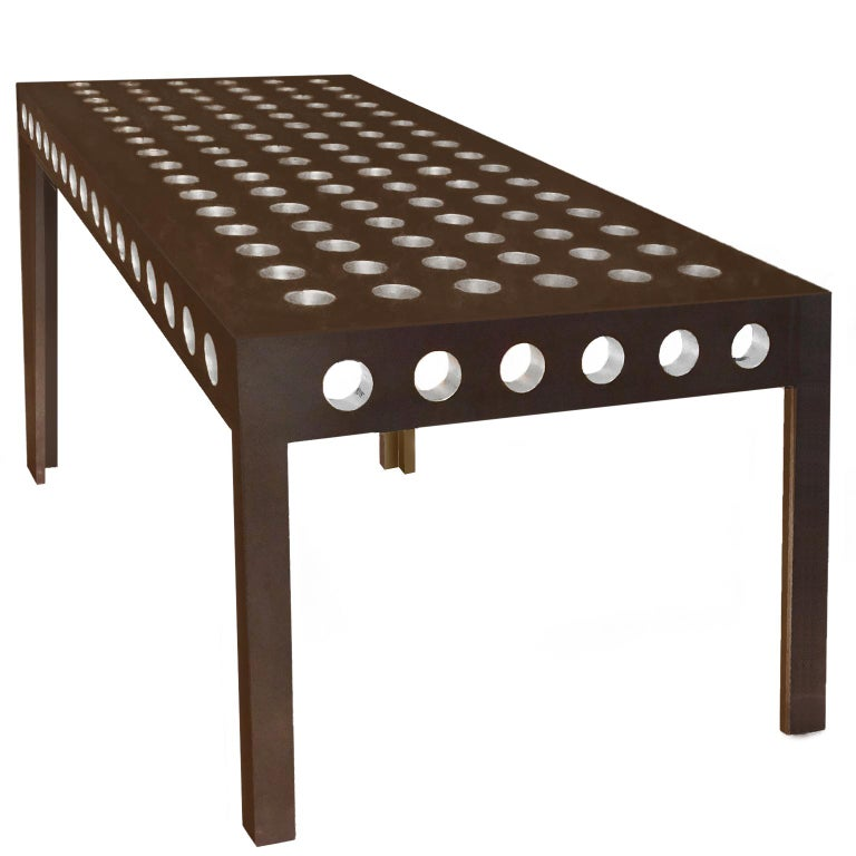Contemporary Steel Table with with applied gold or silver leaf in holes For Sale