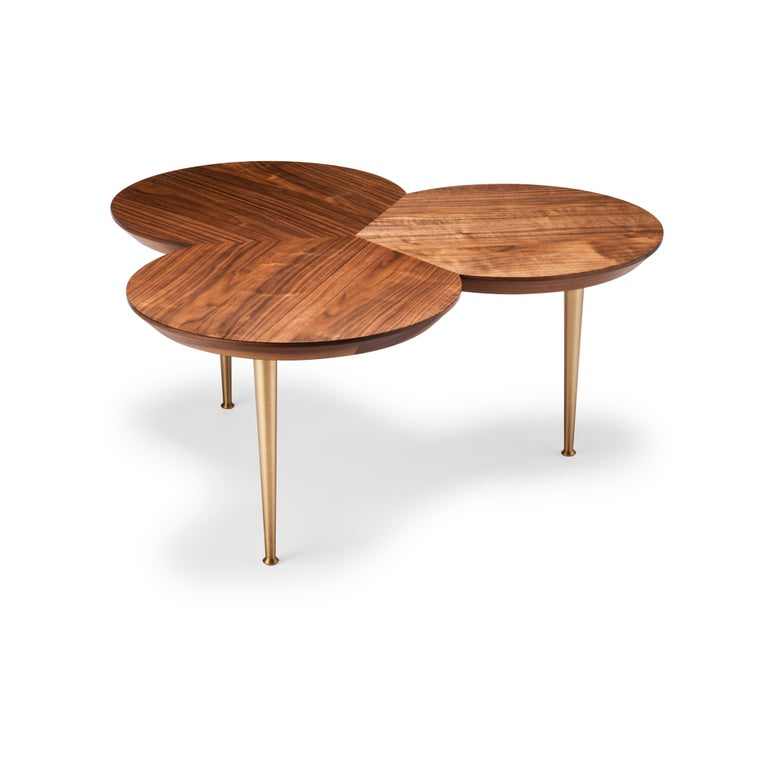 Modern Contemporary Stem Coffee Table in Natural Walnut with Solid Brass Legs For Sale