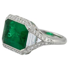 Contemporary Step Cut Emerald Diamond Ring 9.68 Carat