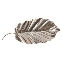 Contemporary Sterling Silver 925 Hand Chased Leaf Tray