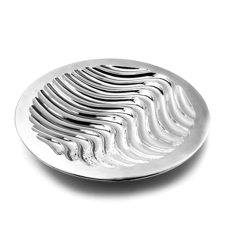 English Contemporary Sterling Silver Bowl Round Double Skinned Wave Alex Brogden 1993 For Sale