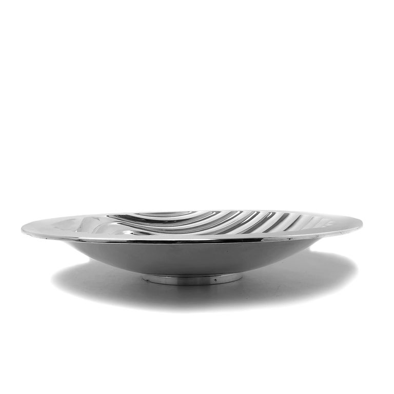Contemporary Sterling Silver Bowl Round Double Skinned Wave Alex Brogden 1993 In Good Condition For Sale In London, GB