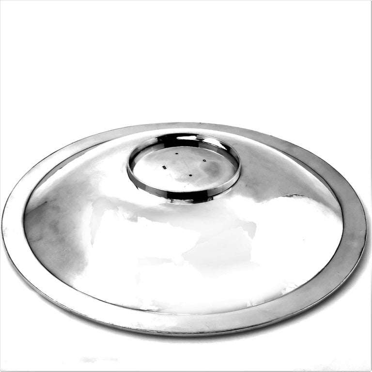 Contemporary Sterling Silver Bowl Round Double Skinned Wave Alex Brogden 1993 For Sale 1